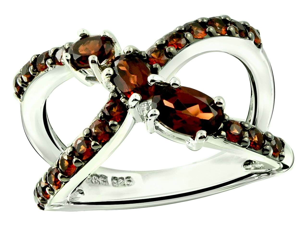 RB Gems Sterling Silver 925 Ring Genuine Gemstone 1.70 Cts X-Cross Band Ring with Rhodium-Plated Finish (9, Garnet)