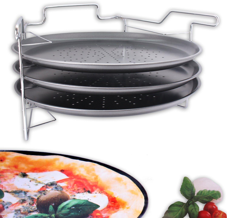 Set de pastelería Horno Soporte con 3 x Pizza para Pizza Maker para 3 Pizzas Diámetro 32,5 cm: Amazon.es: Hogar