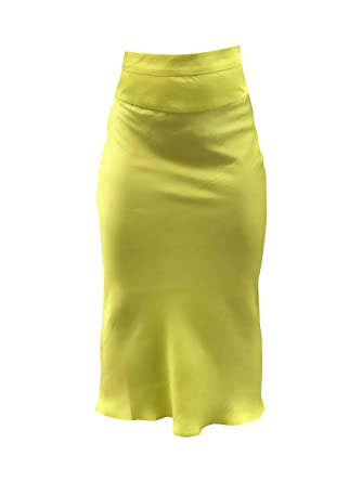 be6db6864a87 Free People NORMANI Silky BIAS Skirt Lime Green at Amazon Women's ...