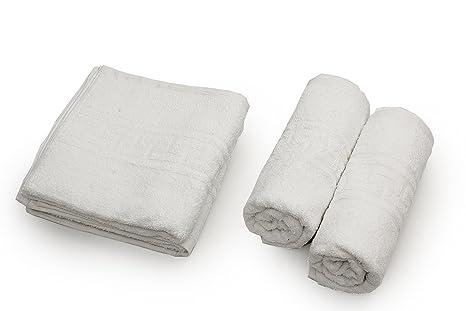 Towel Home - Juego 4 Toallas Lavabo Greca Blancas muy Resistentes 520grm2