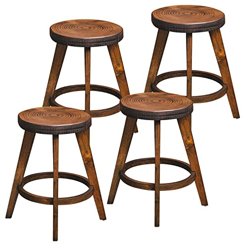 Furgle Set of 4 Round Counter Stool Bar Stool 24-inch Solid Wood Backless Bar Stool Natural Bar Stool for Kitchen Island, Counter, Pub or Bar