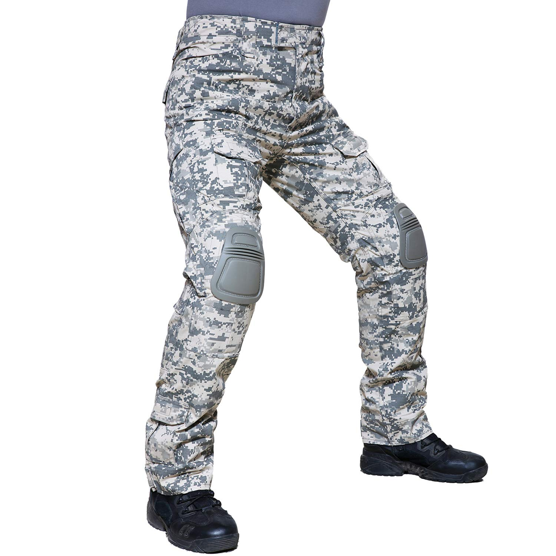 TACVASEN Men's Outdoor Active Military Cargo Camouflage Tactical Combat Pants Trousers ACU