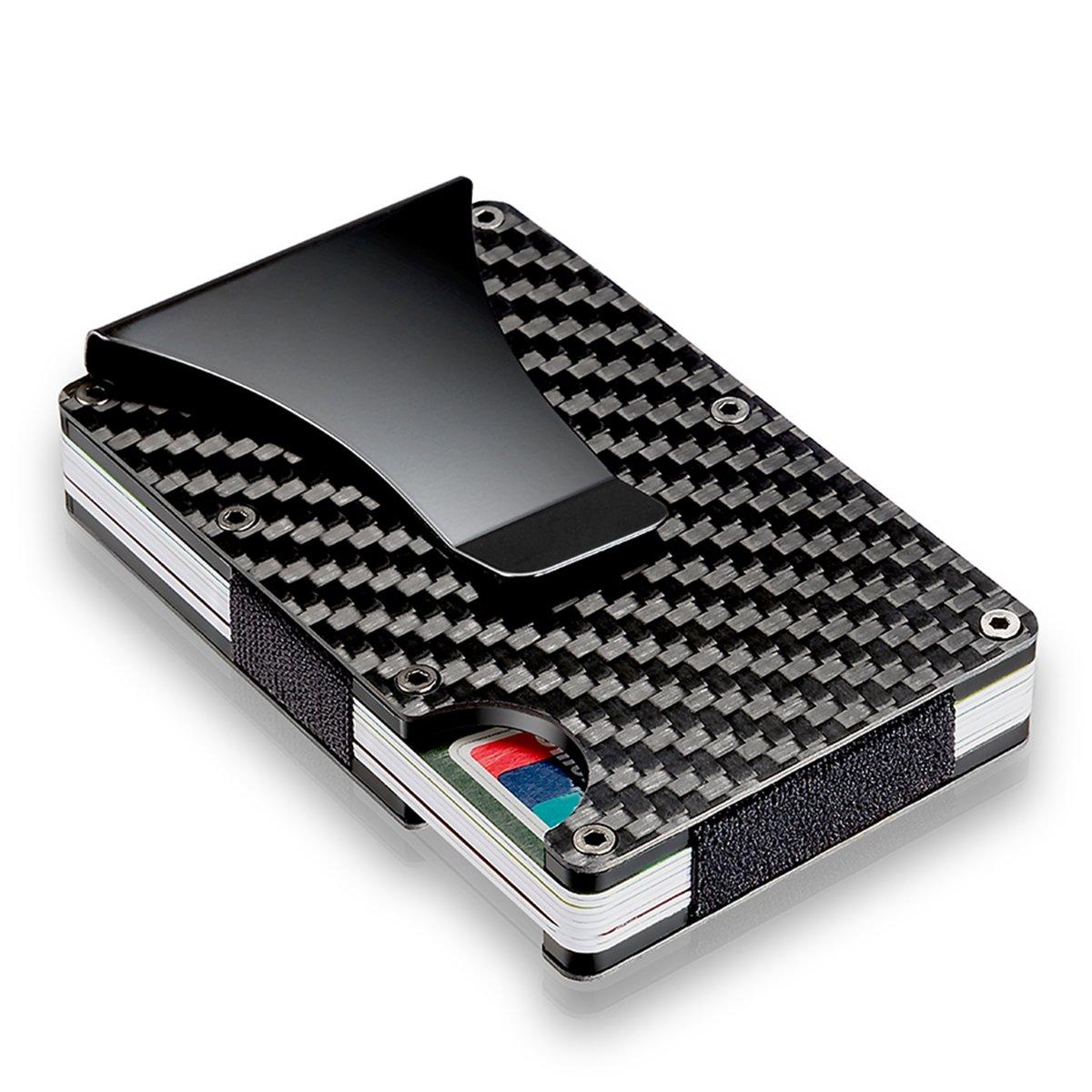 ランフィー スリム炭素繊維クレジットカードホルダー ブロッキング金属ウォレットマネークリップケース B07CWLLMR6