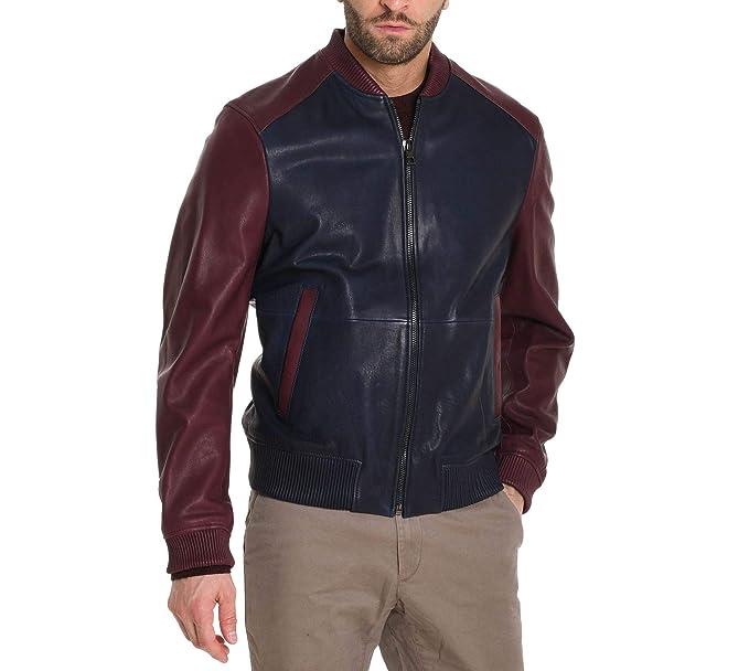 Michael By Michael Kors Giacca Uomo CF88CDB4LM401 Pelle Blu Bordeaux  Amazon .it  Abbigliamento 46115864026