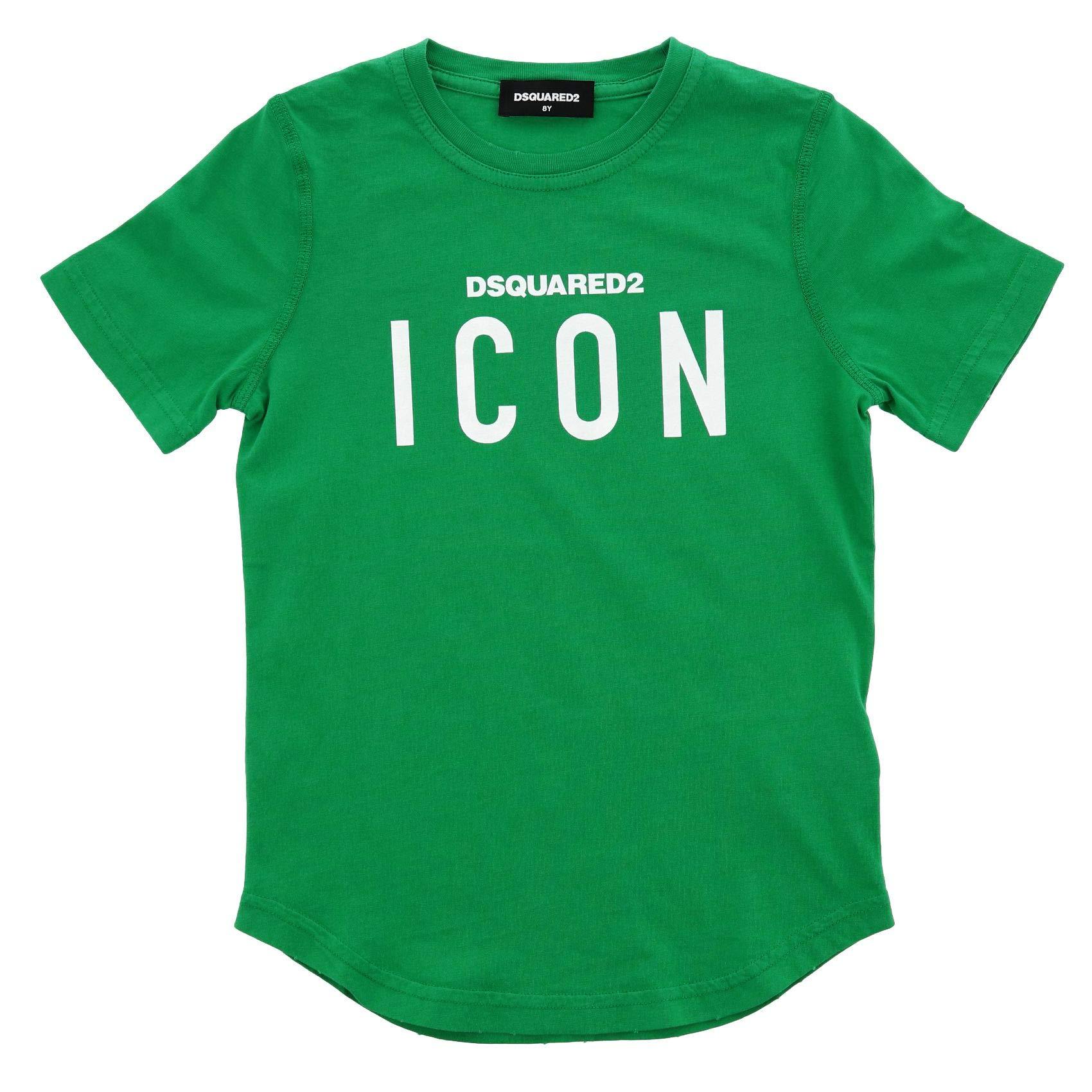 DSQUARED2 Boys Dq02m8d00mrdq505 Green Cotton T-Shirt