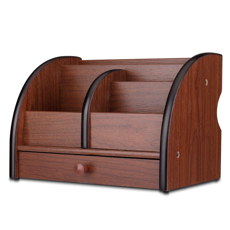 Flexzion Wooden Desk Organizer w/Drawer - Wood Cherry Brown Office Supplies Accessories Desktop Tabletop Sorter Shelf Rack Pencil Holder Caddy Set with Multi Compartments