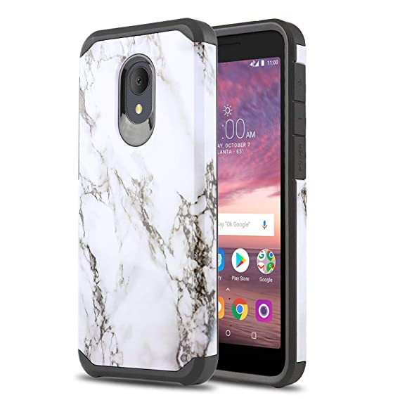best loved 53a47 d6818 Phone Case for [ALCATEL TCL LX (A502DL)], [Marble Series][White] Shockproof  Cover [Impact Resistant][Defender] for Alcatel TCL LX (Tracfone, Simple ...