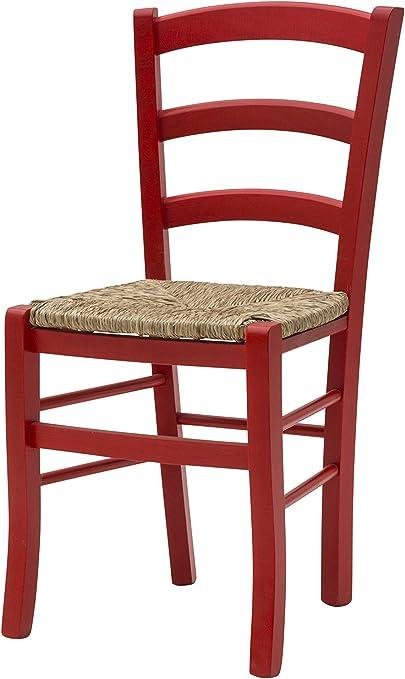 White loft, Set di 2 Sedie, Legno, Rosso, 43x42x88 cm