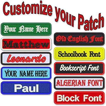 Sew on patches Embroidered Name Patches Iron on Hook and loop Name Patches Custom Name Patches Endless customization options.