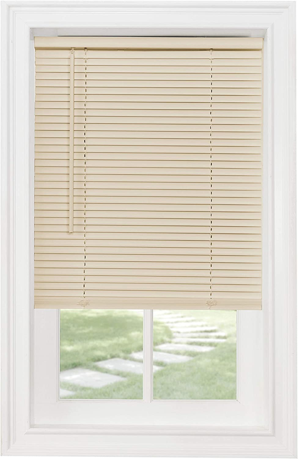 "Achim Home Furnishings Cordless GII Morningstar 1"" Light Filtering Mini Blind, Length 64inch drop X Width 35inch, Alabaster"