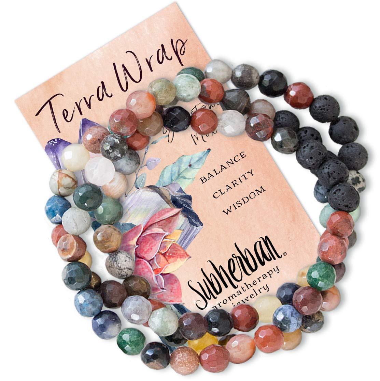 Subherban Essential Oil Bracelets - Aromatherapy Bracelet or Necklace - Lava Rock Anxiety Bracelet - TERRA WRAP - Handmade Jewelry - Gifts for Women