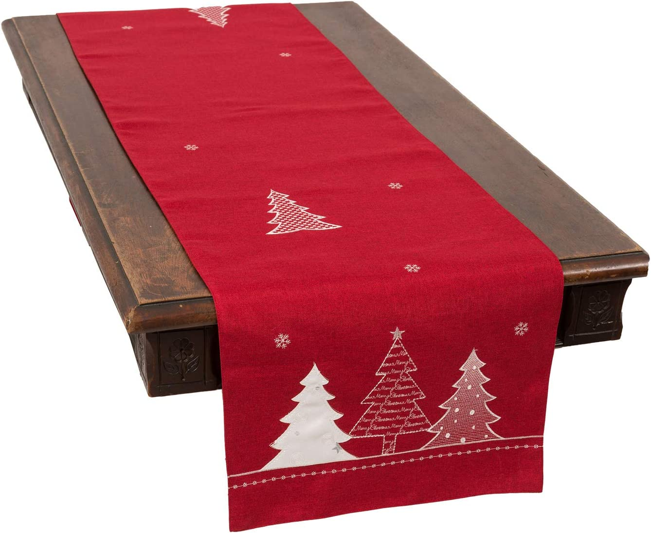 Xia Home Fashions Lovely Christmas Tree Table Runner, 15''x70'', Red