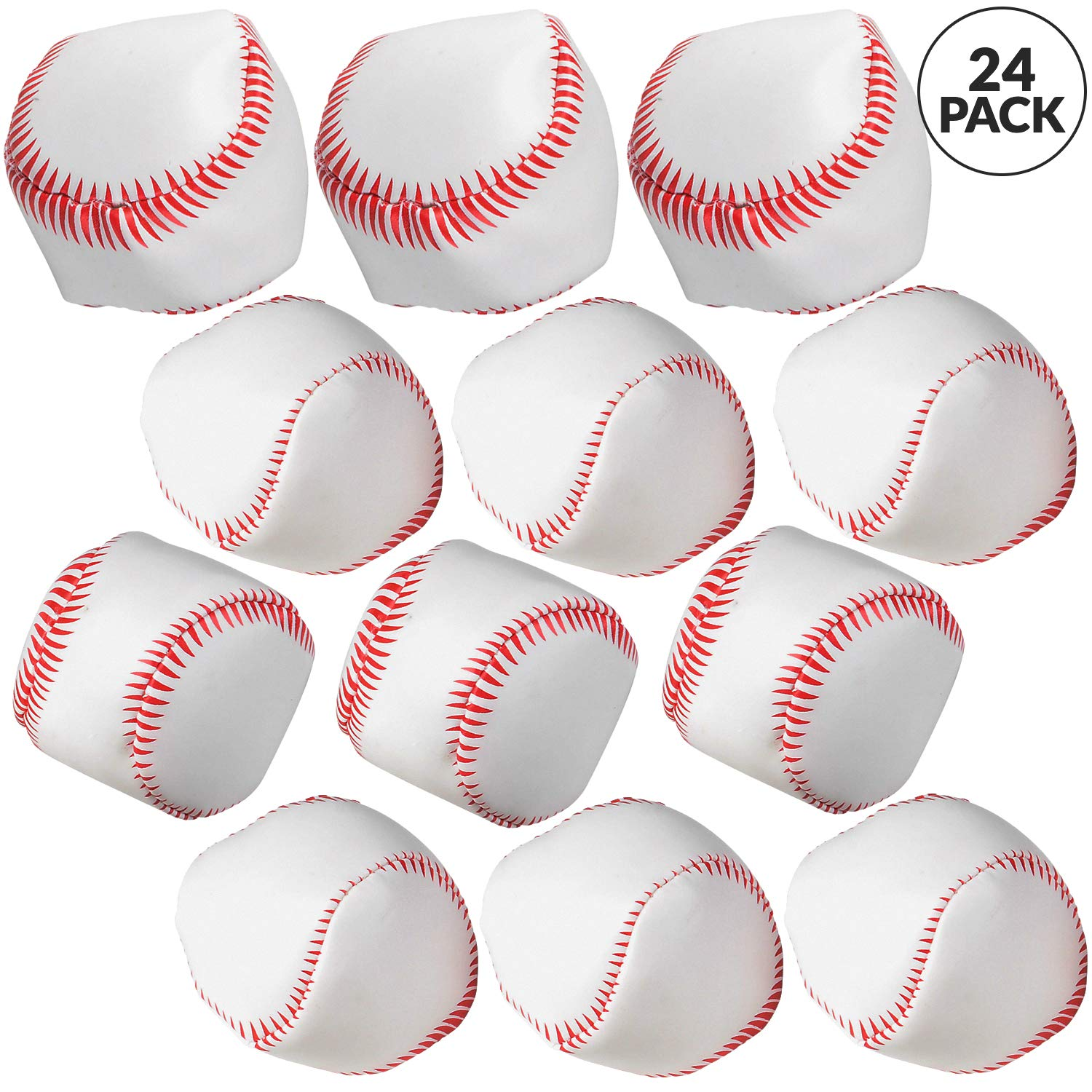 Bedwina Mini Soft Baseballs - Pack of 24 Bulk - 2'' Sports Themed Foam Baseball Toys and Squeeze Stress Relief Balls, Party Favor Supplies & Gifts for Kids by Bedwina