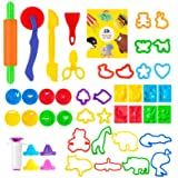 Pandapia 48-Piece Dough Tools Play Accessories Molds Scissor Cookie Cutter Playdough Starter Party Pack Playset for Christmas