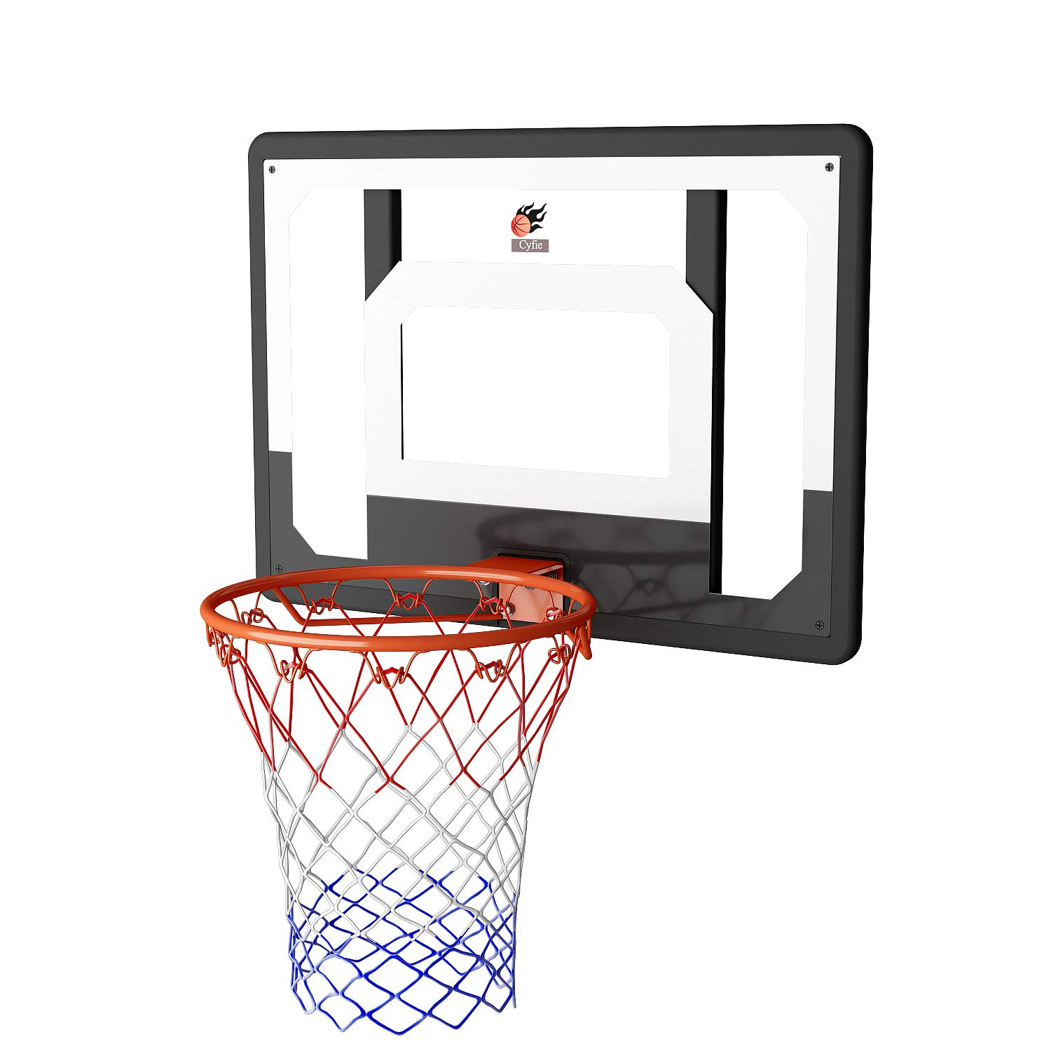 Cyfie Over-The-Door Basketball Hoop Backboard System, 32'' x 23'' Shatter-Free Backboard, 15'' Break-Away Rim with 8.66'' Inflatable Basketball and Pump, Support Wall Mounted for Home, Office etc.