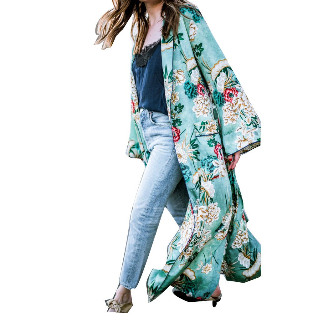 G-real Women's Stylish Flower Chiffon Long Cardigan Outwear Loose Pocket Kimono Cover Up Blouse Coat (Green, XXL)