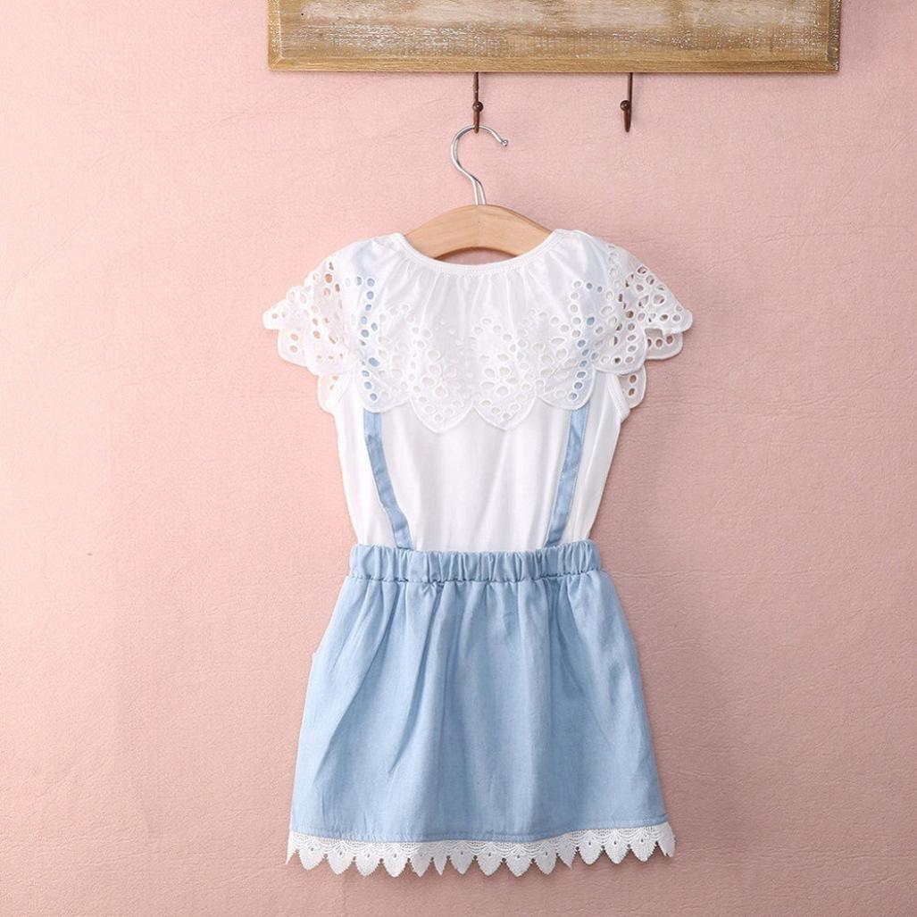WuyiMC Denim Dress For Girls Baby Kids Dresses Princess Party Cotton Fancy Flower Tutu Skirt
