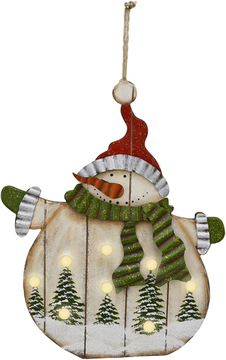 Snowman Christmas Ornament with Led Bulb Rustic Lighted Snowman Hanging Sign Christmas Wall Hanging Decor Xmas Tree Ornament Holiday Decor 16.5x13.75inch