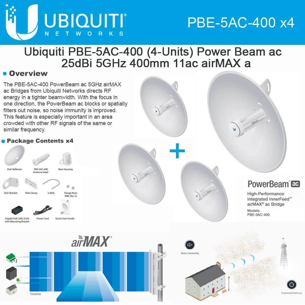 Ubiquiti PowerBeam AC PBE-5AC-400 4-PACK 25dBi 5GHz 25+km airMAX