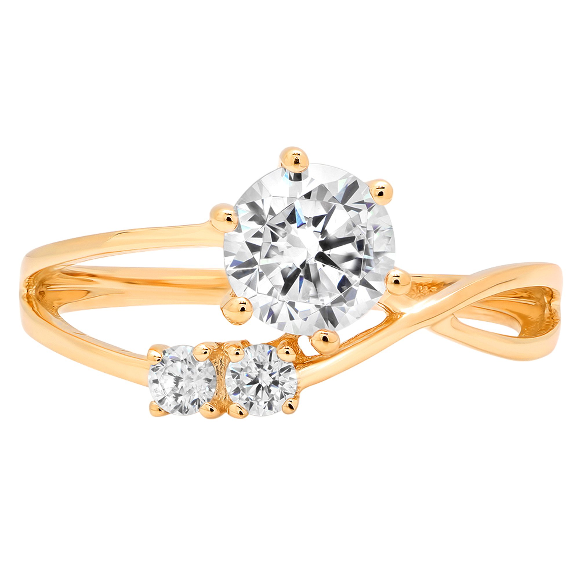 Clara Pucci 1.05 ct Three Stone Round Brilliant Cut Engagement Bridal Wedding Band Ring in 14K Yellow Gold, Size 4.25
