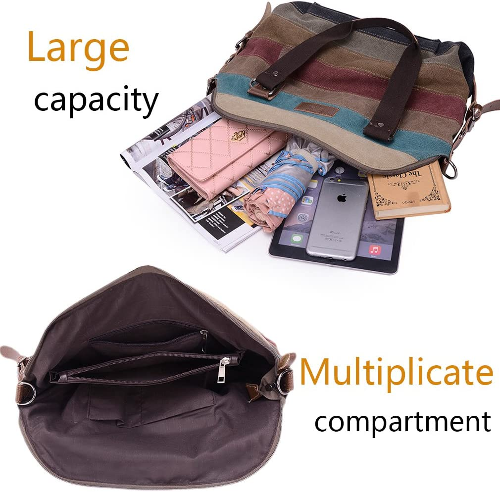 HASAGEI Women/'s Canvas Multi-Color Hobos Shoulder Bag Tote Multi-color-a