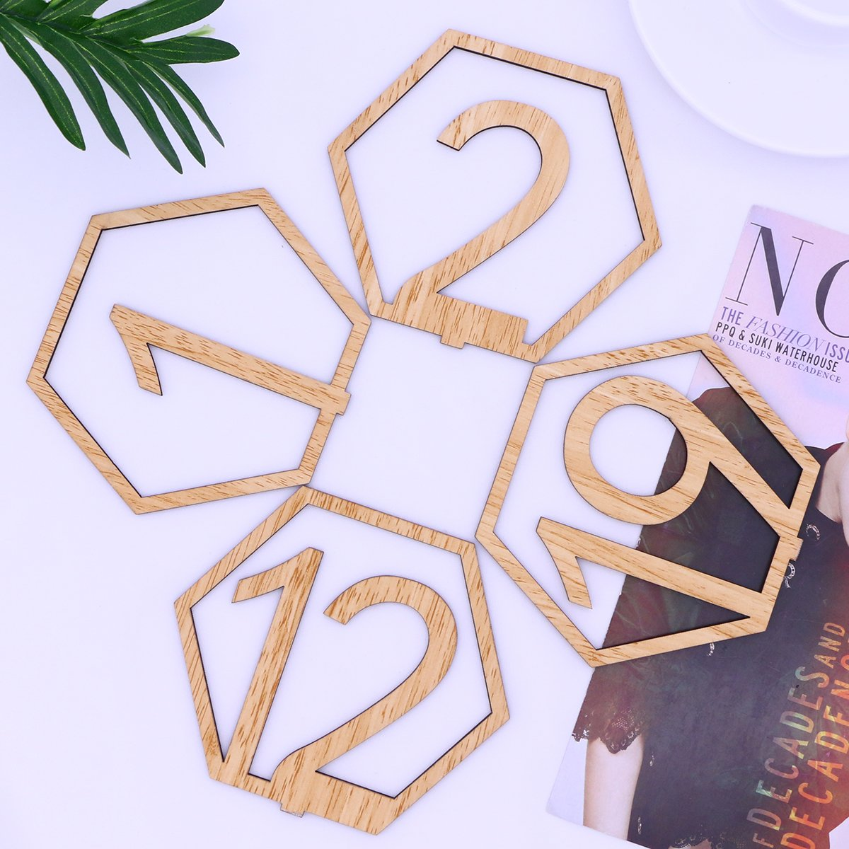 OULII 1-20 Hexagon Wooden Table Numbers with Holder Base for Wedding Birthday Engagement Decoration 20pcs by OULII (Image #3)
