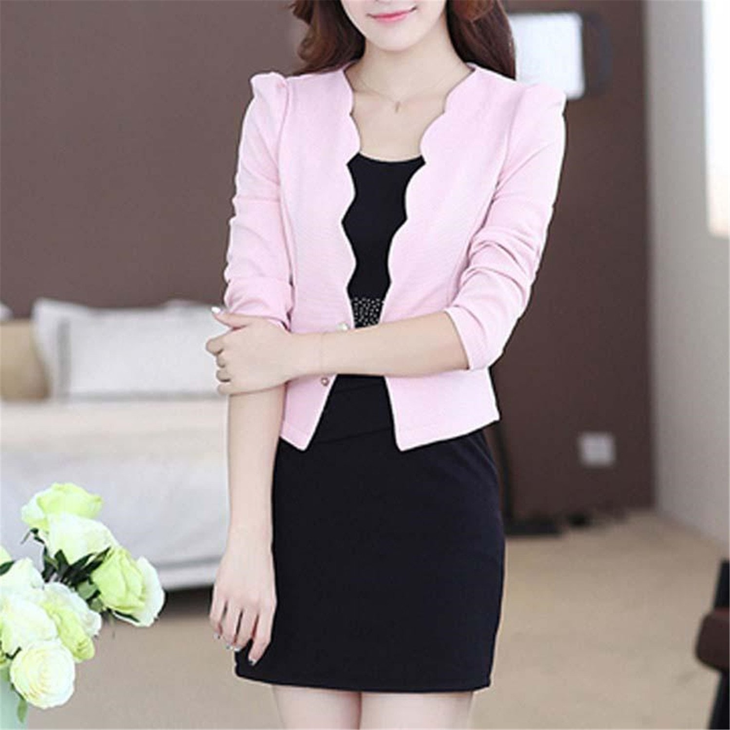 cc8604a4aeb33 B dressy Women Dresses Suits Office Women Workwear Blazer And Dress Suit  For Female PinkMedium at Amazon Women s Clothing store
