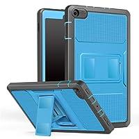 MoKo Hülle für All-New Amazon Fire HD 8 Tablet (7th & 8th Generation – 2017 & 2018 Modell) - [Heavy Duty] Ganzkörper-Rugged Hybrid Stand Cover Schutzhülle mit integriertem Displayschutz für das neue Fire HD 8, Blau & Dunkel Grau