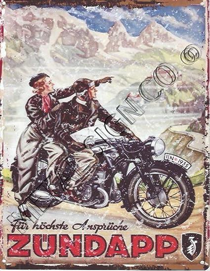 Zundapp moto anuncio garaje Metal Sign Retro Vintage estilo ...