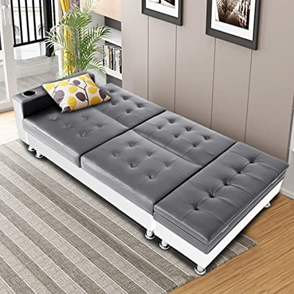 Miraculous Bon Multifunctional Faux Leather Sofa Include Storage Box Ottoman Recliner Sofa Bed With Cup Holder Grey White Camellatalisay Diy Chair Ideas Camellatalisaycom