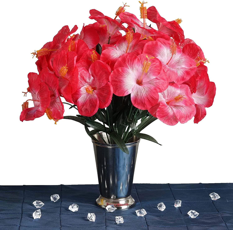 Amazon Com Balsacircle 60 Fuchsia Hibiscus Tropical Flowers 12 Bushes Artificial Flowers Wedding Party Centerpieces Arrangements Bouquets Supplies Home Kitchen