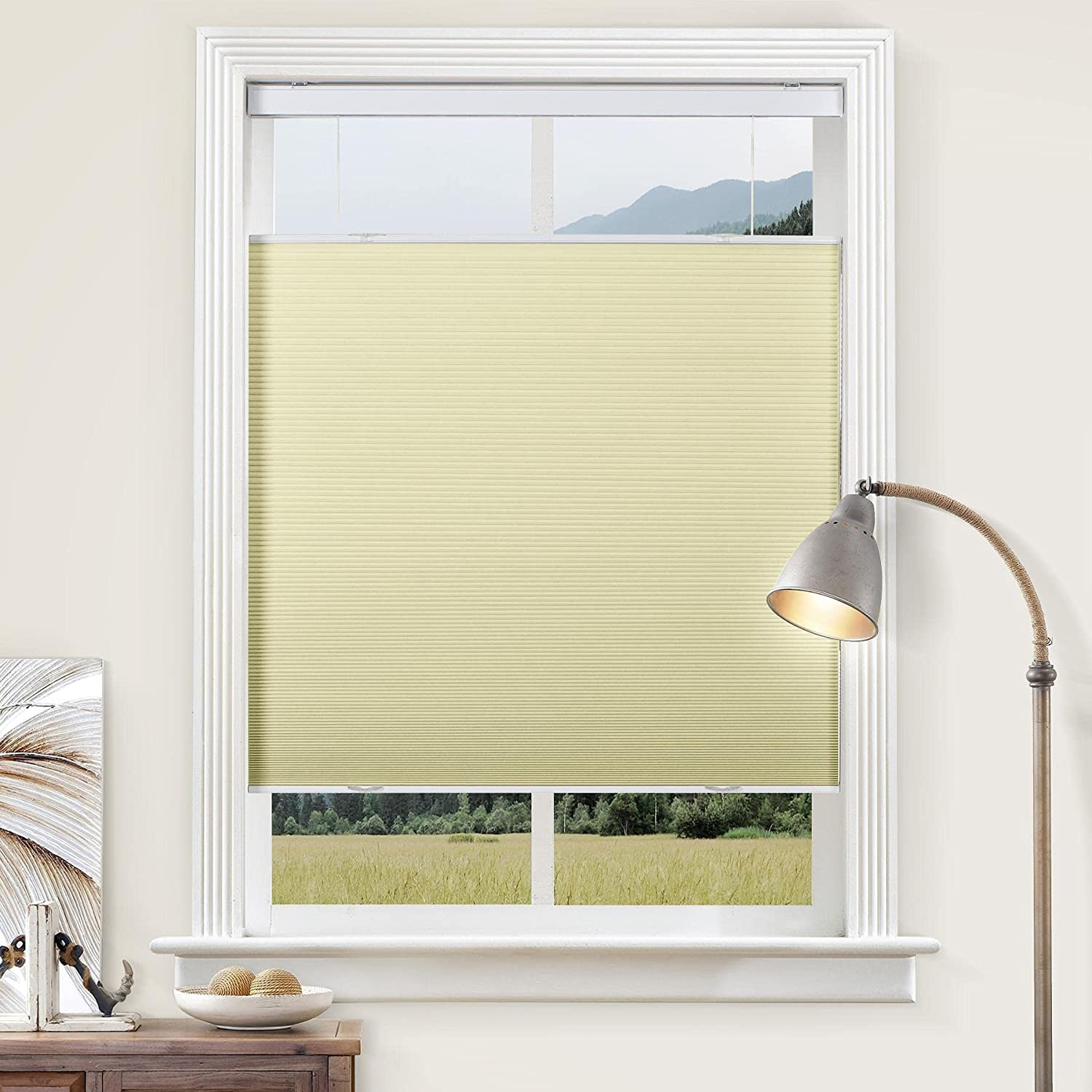 cololeaf Cellular Window Shades Cordless Top Down Bottom Up, Custom Made Pleated Honeycomb Shades for Windows Room Darkening Blackout Window Blinds for Home and Office, Beige