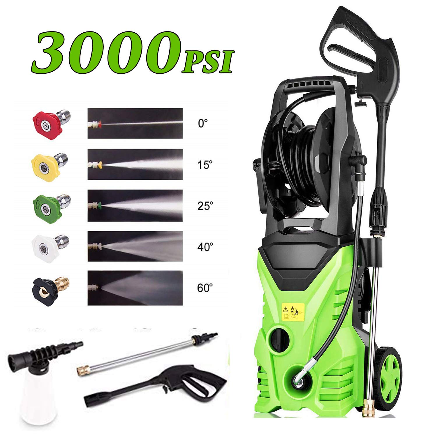 Homdox 3000 PSI 1.80 GPM Electric Pressure Washer, 1800W Electric Power Washer with Hose Reel, 5 Quick-Connect Spray Tips