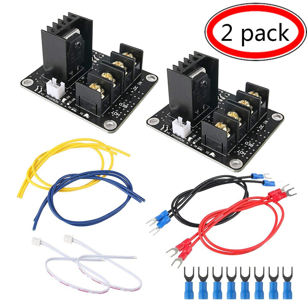 Heat Bed Power Module, 2-Pack 3D Printer Hot Bed Power Expansion Board/Heatbed Power Module/MOS Tube High Current Load Module with Cables
