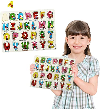 Toy Cubby Wooden Pegged Alphabet Puzzle Board Kids Toddler Set Picture