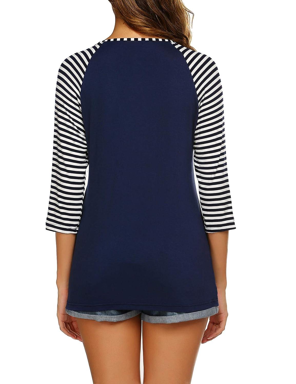Ekouaer Womens Maternity Nursing Top 3//4 Sleeve V Neck Breastfeeding Shirt Tees Soft Stripe Pregnancy Shirts S-XXL