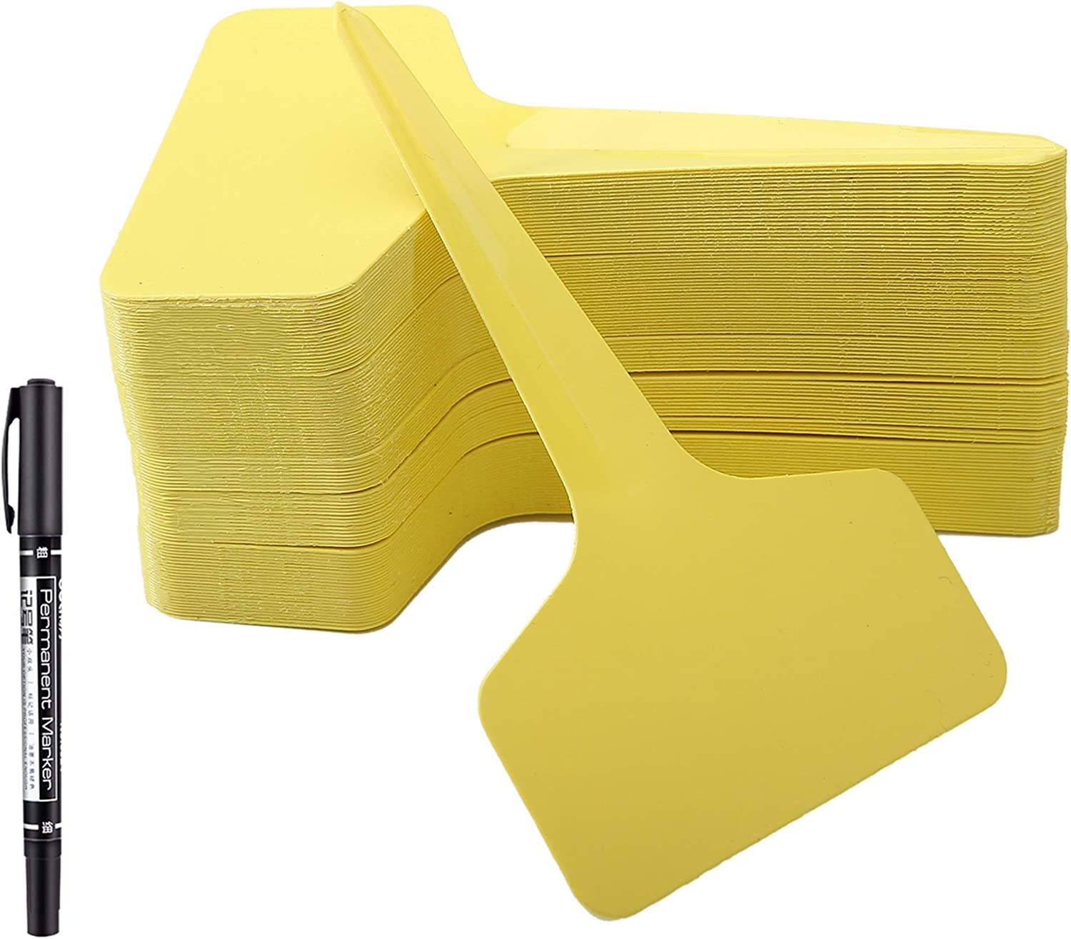 100 Pcs T-Type Plant Labels with a Gel Pen, Waterproof Nursery Plant Tags Plastic Garden Markers, Yellow, 6 x 10cm