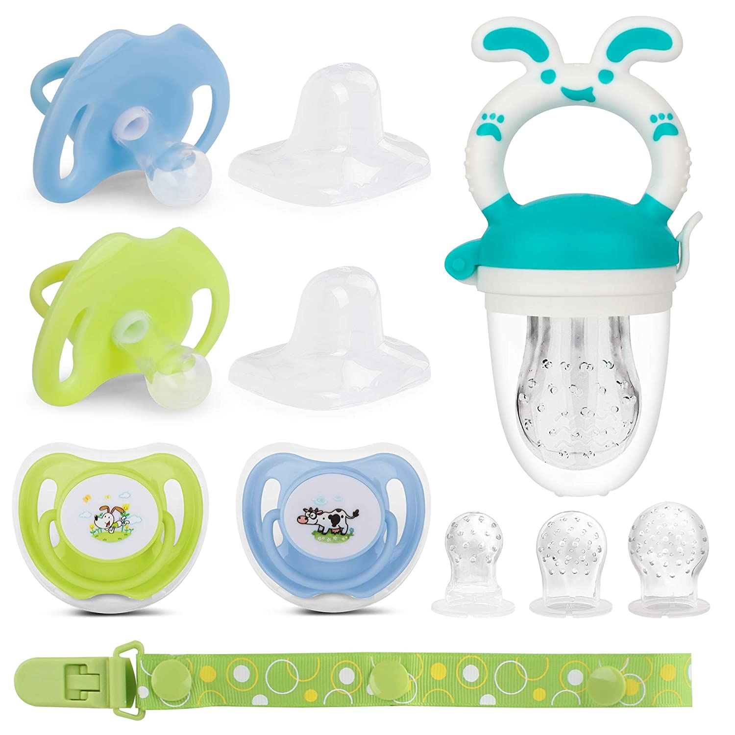 Pacifier with lid, Newborn Pacifier, Baby Fruit Feeder Set 4X Pacifiers 0-6 Months, Pacifiers 6-18 Months. Silicone Binky and Pacifier Holder Clips for 0-18 Month Girl or boy (Blue)