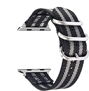 """VIGOSS for Apple Watch Band 38mm, Woven Nylon NATO iWatch Band Soft Replacement Strap with Metal Buckle for Apple Watch Series 3, Series 2, Series 1, Sport, 5.3""""-7.1"""" (Black/Grey, 38mm)"""