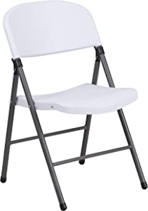 Flash Furniture HERCULES Series 330 lb. Capacity Granite White Plastic Folding Chair with Charcoal Frame