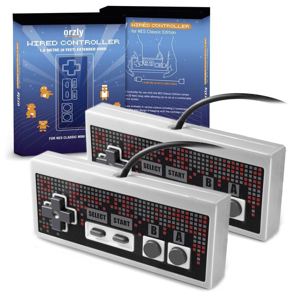 Orzly RetroPad for NES Classic Mini (TWIN PACK) - Wired Joypad/Gamepad - 2x GRAY GREY Controllers With Extended 1.8m/6 ft 1.8m Cable For Use With NES Classic Edition (New 2016 Mini NES Model) by Orzly