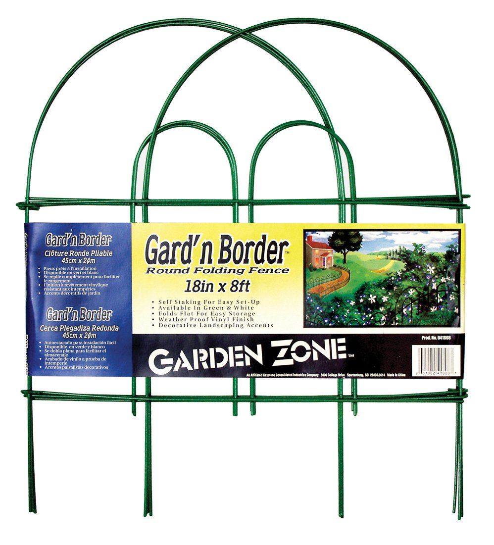 Origin Point 41808 Gard'n Border Round Folding Fence, Green, 18-Inch x 8-Feet