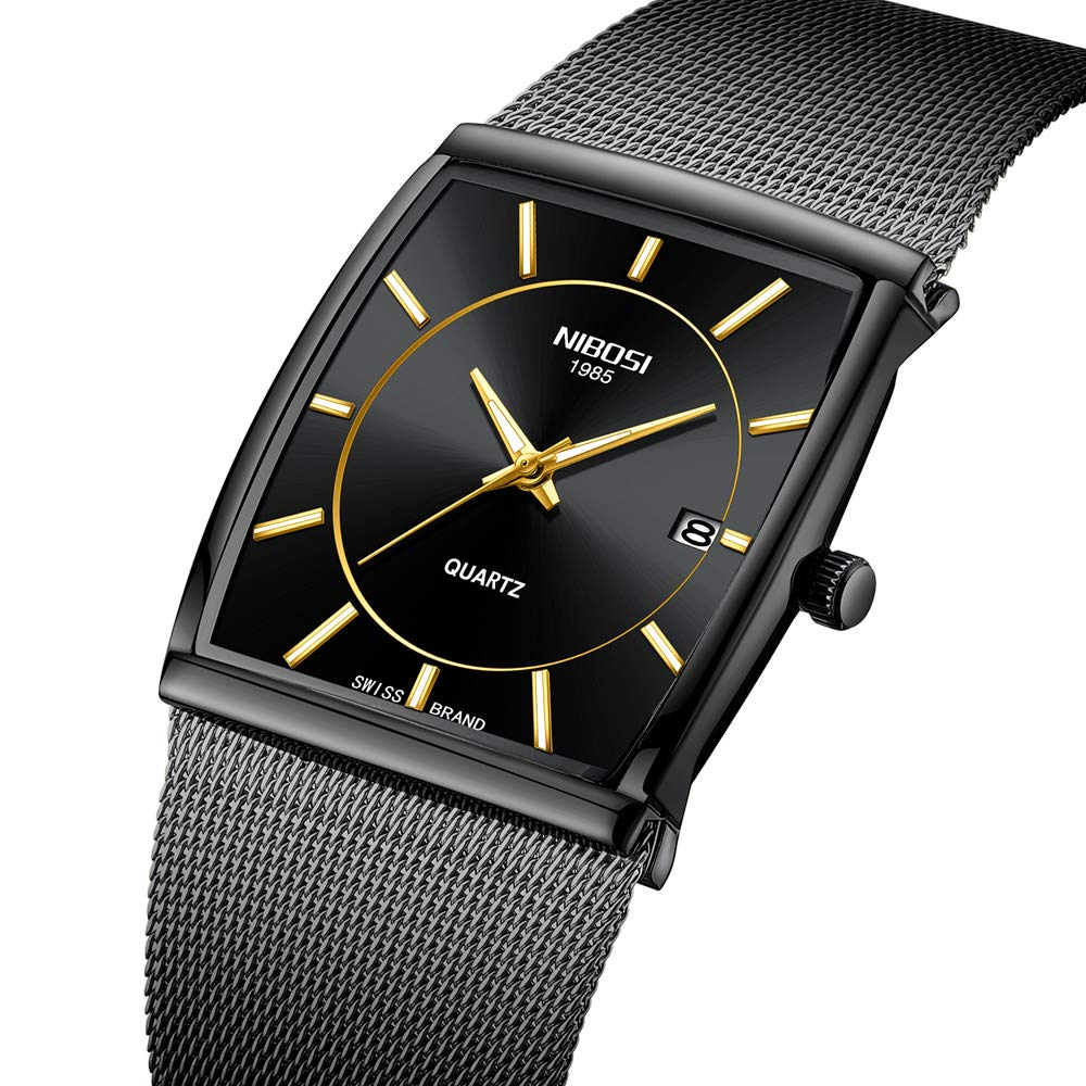 Men's Watches Business Mesh Strap Analog Quartz Wrist Watch with Date and Luminous Square Watch Black