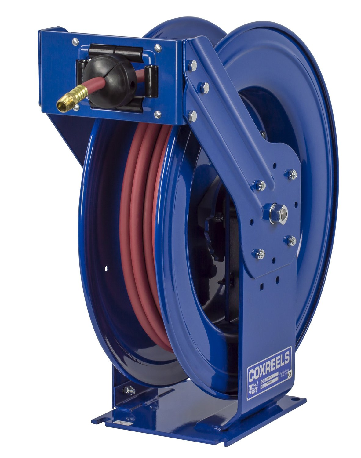 "Coxreels TSH-N-3100 Retractable Air, Water or Oil Hose Reel, T-Fuel Series 3/8""x100', 300PSI-Easy-Maintenance with Brass Swivel & Multi-Position Mount Arm-Heavy-Duty Steel Construction, Made in USA"