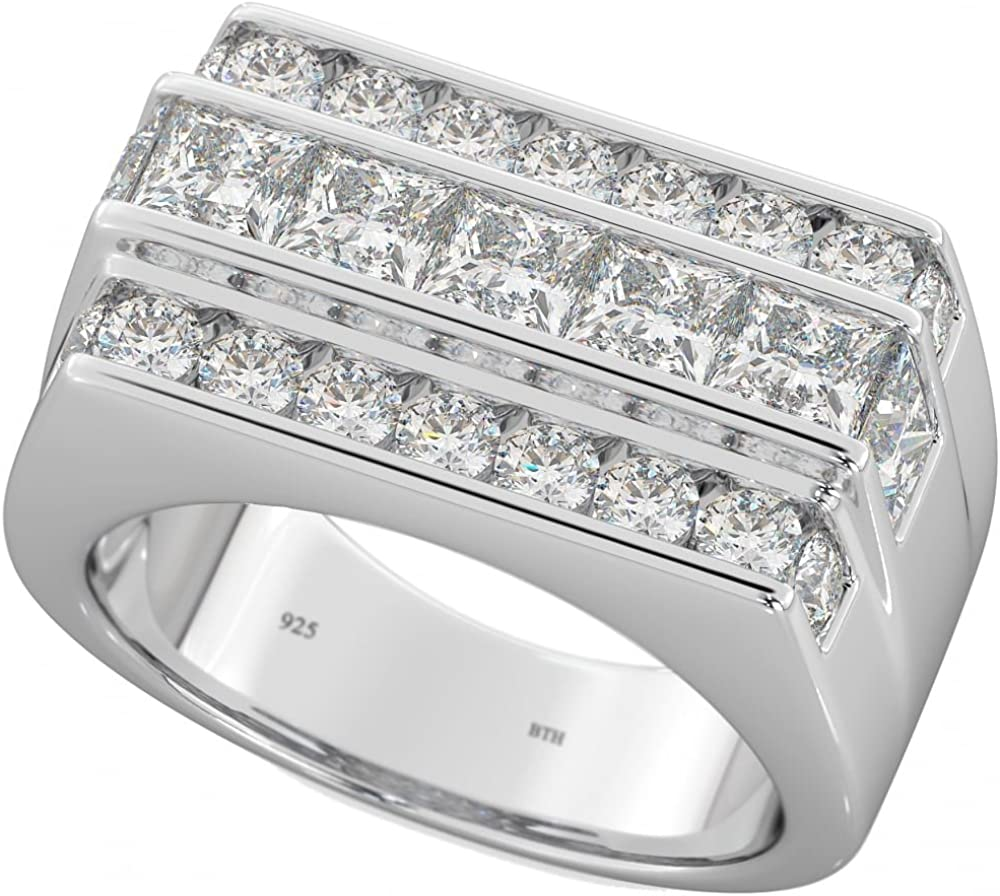 Mens Icy White Gold Over .925 Sterling Silver Simulated Diamond Pinky Band Ring