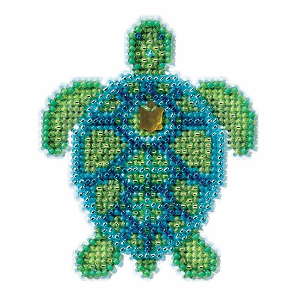 Sea Turtle Beaded Counted Cross Stitch Ornament Kit Mill Hill 2016 Spring Bouquet MH181611 Wichelt