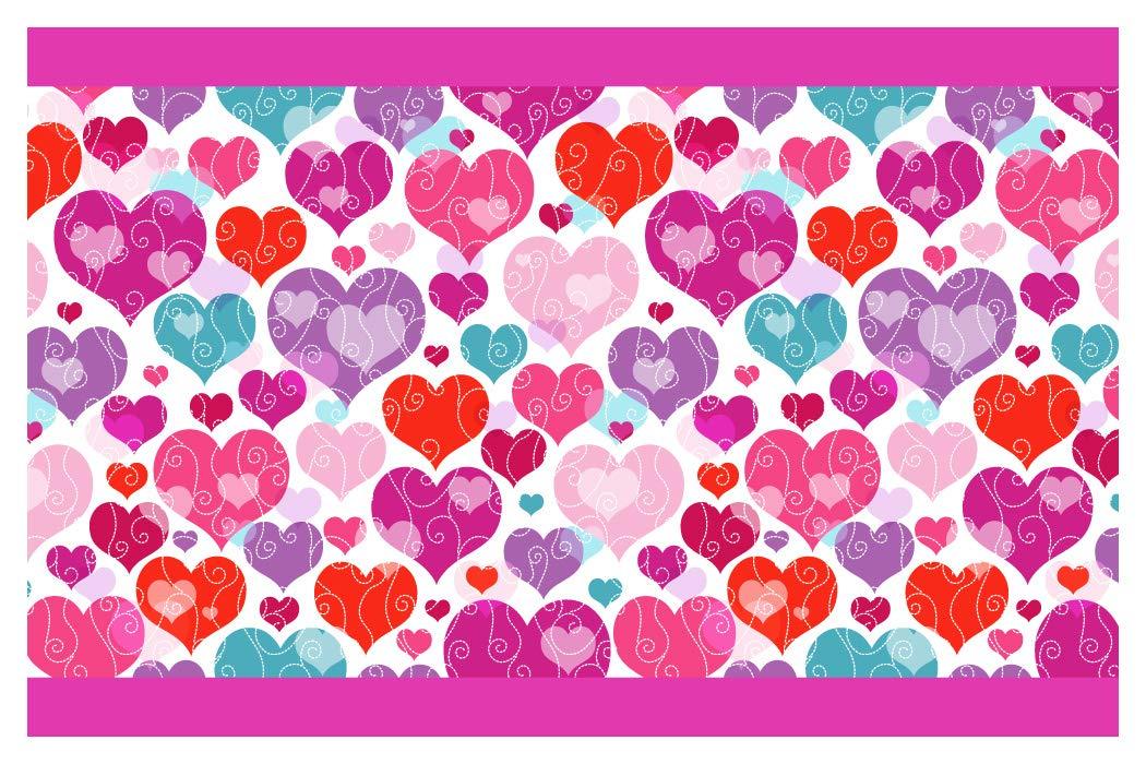 I-love-Wandtattoo b-10148 - Bordo decorativo adesivo da parete, cuori e ornamenti, la camera dei bambini, 5m, stripes carta da parati, decorazioni per bambini