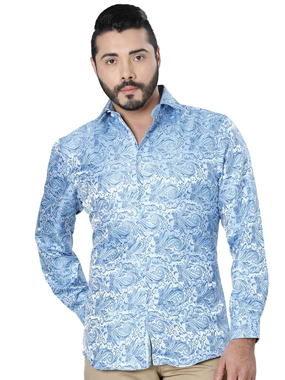 Camisa Casual M/Larga Centenario 100% Microfiber ID 41193 CW2G Azul Claro at Amazon Mens Clothing store: