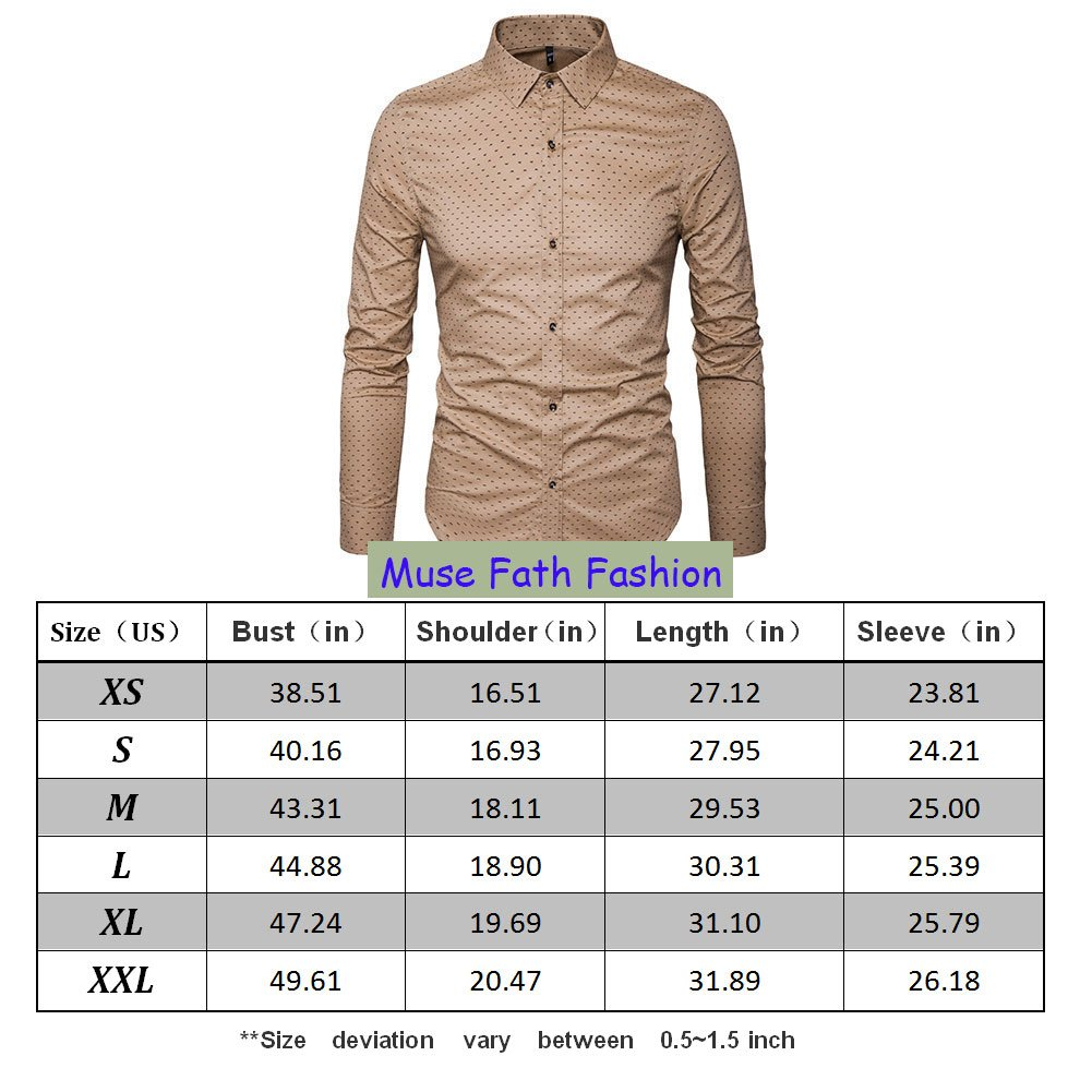 MUSE FATH Men's Printed Dress Shirt-100% Cotton Casual Long Sleeve Shirt-Button Down Point Collar Shirt-Khaki New-XL by MUSE FATH (Image #6)