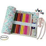 CreooGo Canvas Pencil Wrap, Travel Drawing Pencil Roll Organizer For Artist, Pencils Pouch Case Hold For 72 Colored Pencils (Pencils are not included)-Countryside,72 Holes